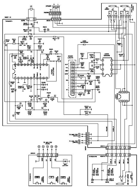 Рис.23.  Принципиальная схема блока обработки аудиосигналов.